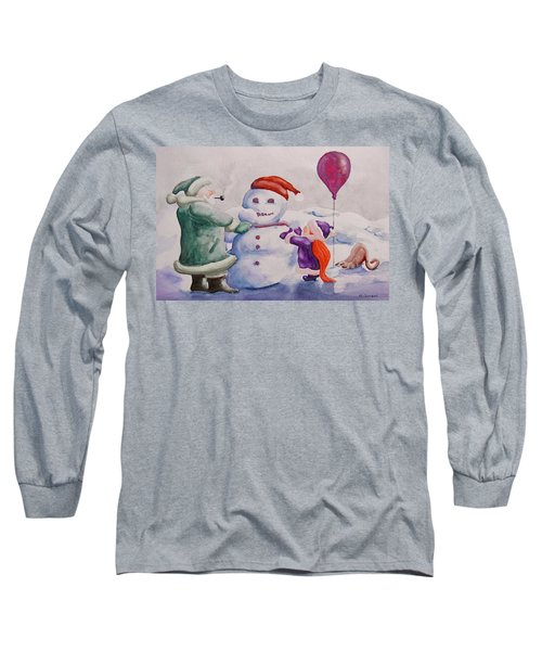 Long Sleeve T-Shirt featuring the painting It's Cold Grandpa by Geni Gorani