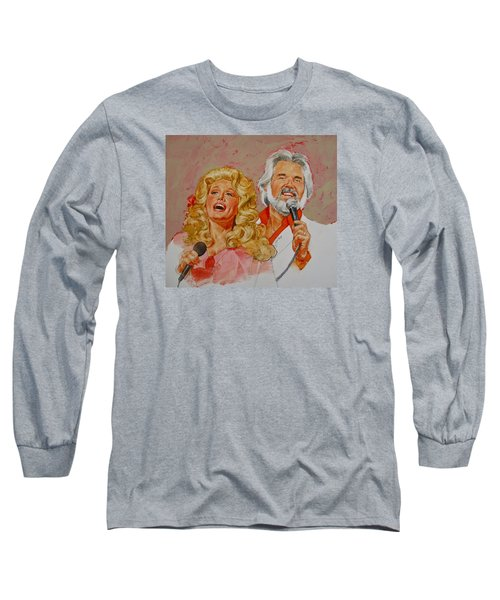Its Country - 8  Dolly Parton Kenny Rogers Long Sleeve T-Shirt by Cliff Spohn