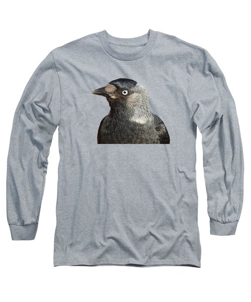 Jackdaw Corvus Monedula Bird Portrait Vector Long Sleeve T-Shirt