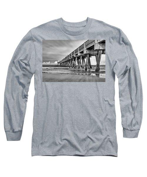 Jacksonville Beach Pier In Black And White Long Sleeve T-Shirt