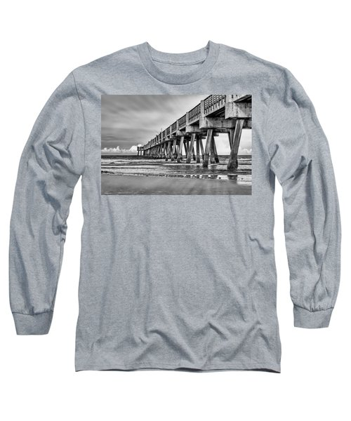 Jacksonville Beach Pier In Black And White Long Sleeve T-Shirt