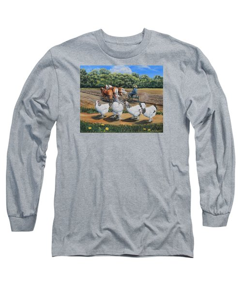 Jacobs Plowing And Light Bramah Chickens Long Sleeve T-Shirt by Ruanna Sion Shadd a'Dann'l Yoder