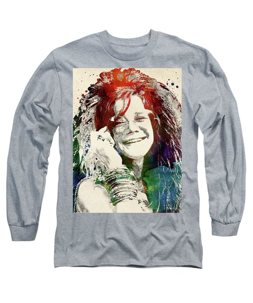 Janis Joplin Long Sleeve T-Shirt by Mihaela Pater