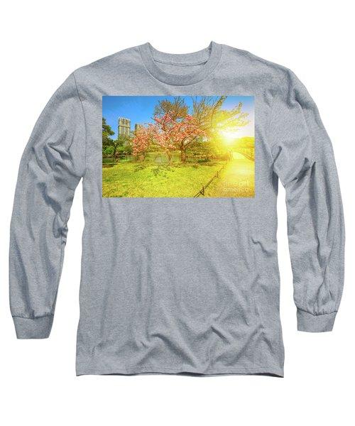 Japanese Garden Cherry Blossom Long Sleeve T-Shirt