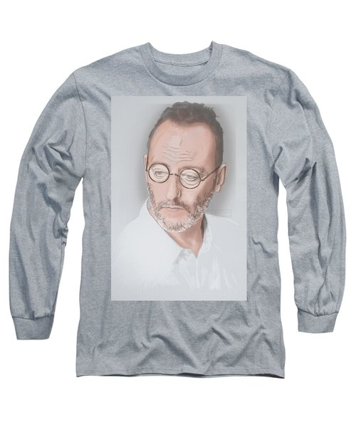 Long Sleeve T-Shirt featuring the mixed media Jean Reno by TortureLord Art