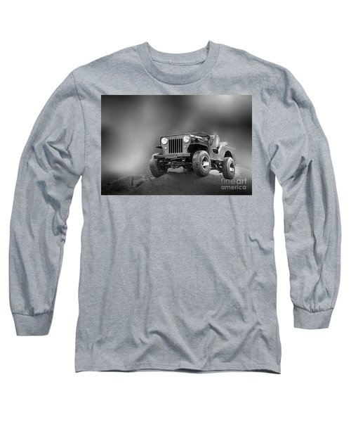 Long Sleeve T-Shirt featuring the photograph Jeep Bw by Charuhas Images