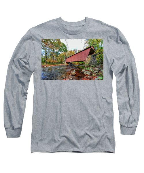 Jericho Covered Bridge In Maryland During Autumn Long Sleeve T-Shirt