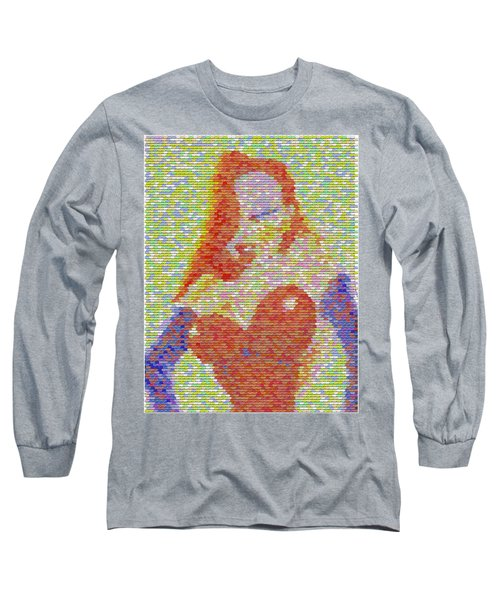 Long Sleeve T-Shirt featuring the mixed media Jessica Rabbit Pez Mosaic by Paul Van Scott