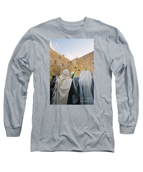 Jewish Sunrise Prayers At The Western Wall, Israel 9 Long Sleeve T-Shirt