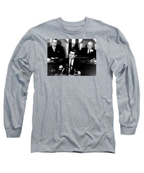 Jfk Announces Moon Landing Mission Long Sleeve T-Shirt