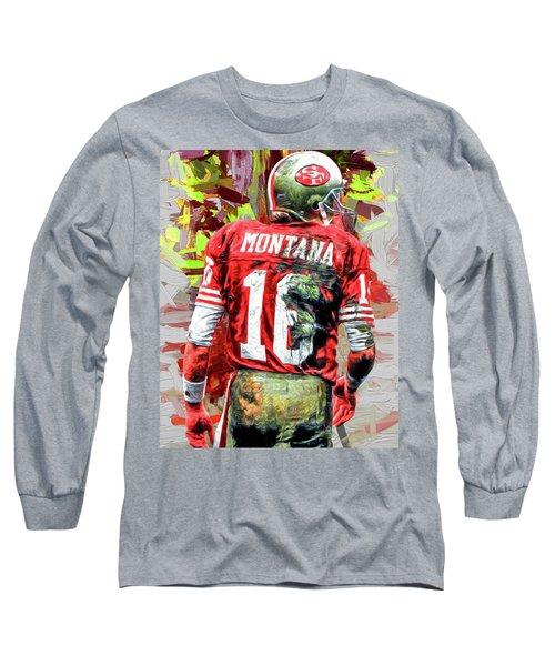 Joe Montana Football Digital Fantasy Painting San Francisco 49ers Long Sleeve T-Shirt by David Haskett