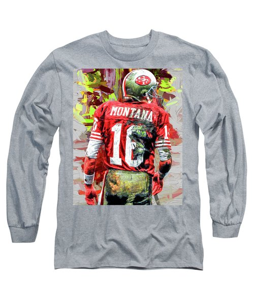 Joe Montana Football Digital Fantasy Painting San Francisco 49ers Long Sleeve T-Shirt
