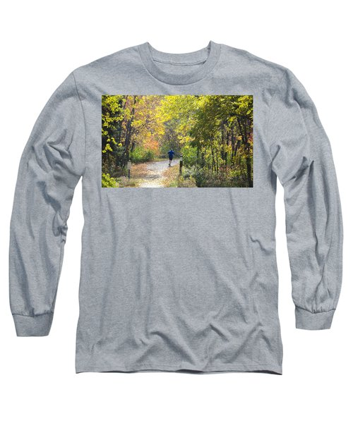 Jogger On Nature Trail In Autumn Long Sleeve T-Shirt
