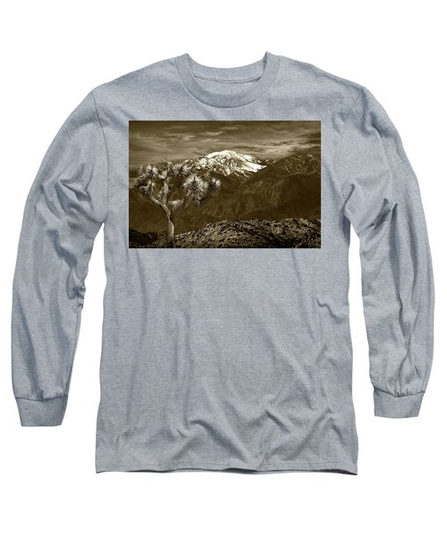 Long Sleeve T-Shirt featuring the photograph Joshua Tree At Keys View In Sepia Tone by Randall Nyhof