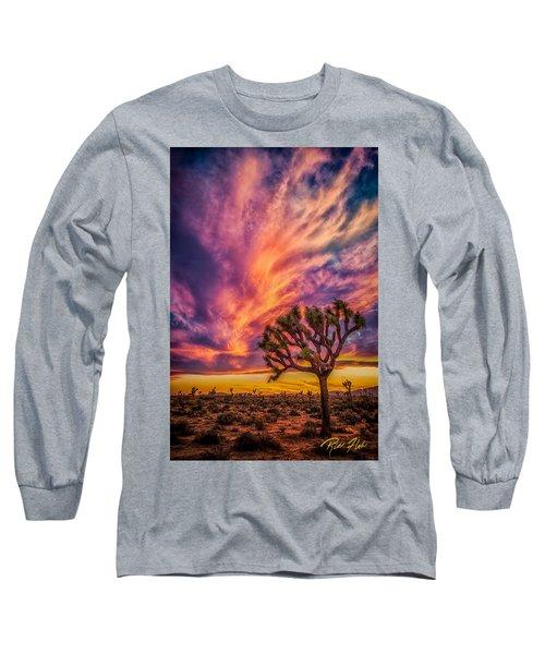 Joshua Tree In The Glowing Swirls Long Sleeve T-Shirt