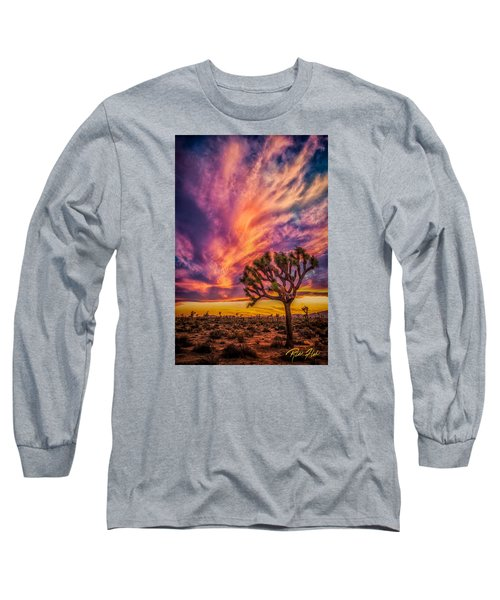 Joshua Tree In The Glowing Swirls Long Sleeve T-Shirt
