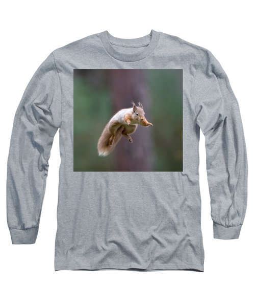 Jumping Red Squirrel Long Sleeve T-Shirt