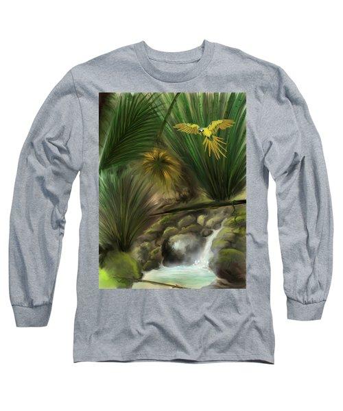 Long Sleeve T-Shirt featuring the digital art Jungle Parrot by Darren Cannell