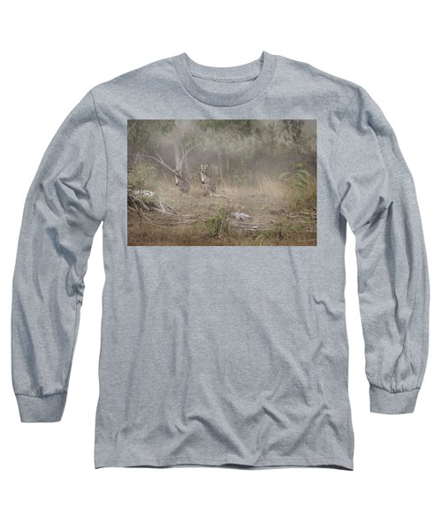 Kangaroos In The Mist Long Sleeve T-Shirt by Az Jackson