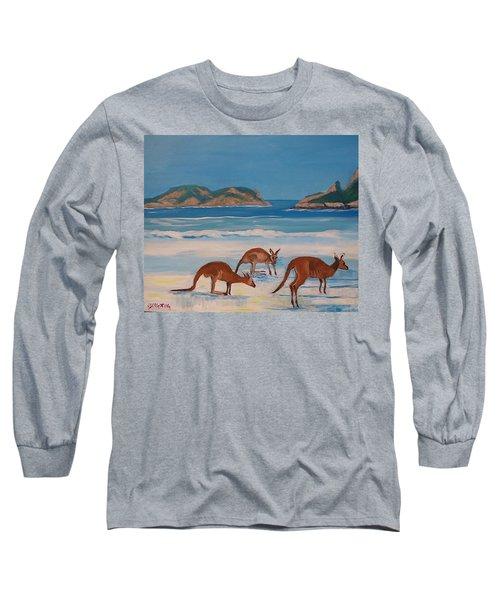 Kangaroos On The Beach Long Sleeve T-Shirt