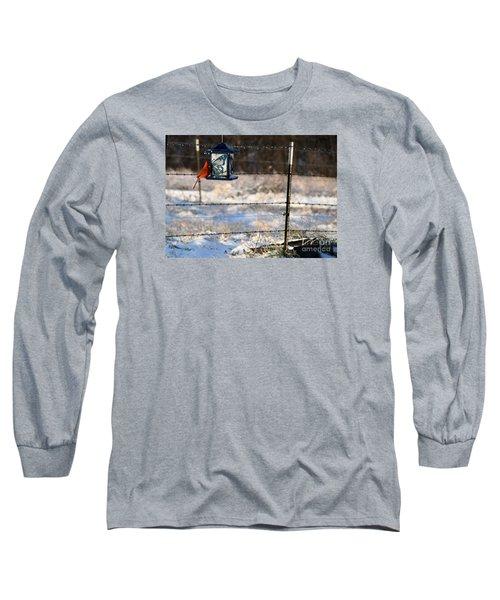 Long Sleeve T-Shirt featuring the photograph Kansas Cardinal At The Feeder by Mark McReynolds