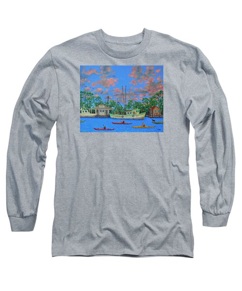 kayaks on the Creek Long Sleeve T-Shirt by Dwain Ray