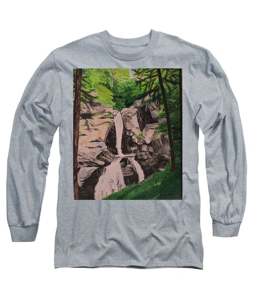 Long Sleeve T-Shirt featuring the painting Kent Falls by Hilda and Jose Garrancho