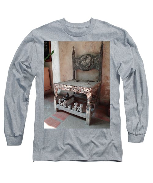 Kenyan African Antique Carved Chair Long Sleeve T-Shirt
