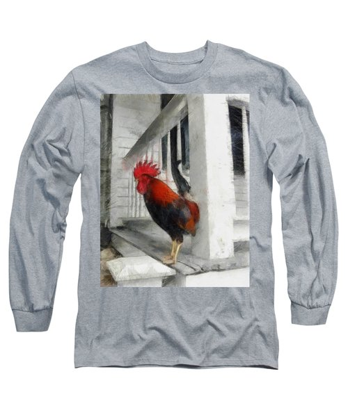 Key West Porch Rooster Long Sleeve T-Shirt