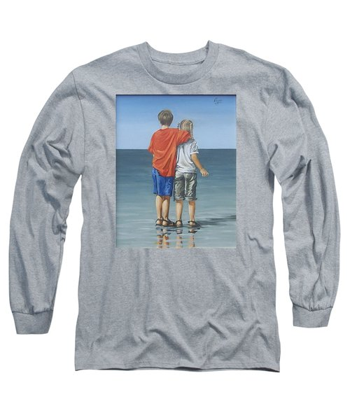 Long Sleeve T-Shirt featuring the painting Kids by Natalia Tejera
