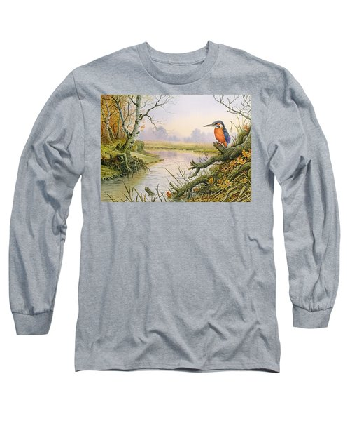 Kingfisher  Autumn River Scene Long Sleeve T-Shirt