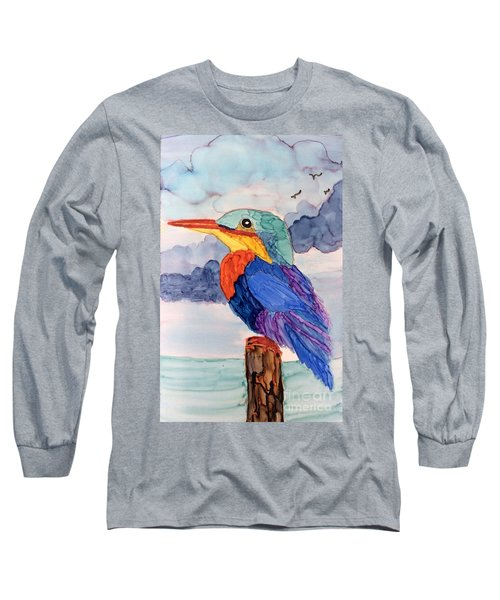 Kingfisher On Post Long Sleeve T-Shirt by Suzanne Canner