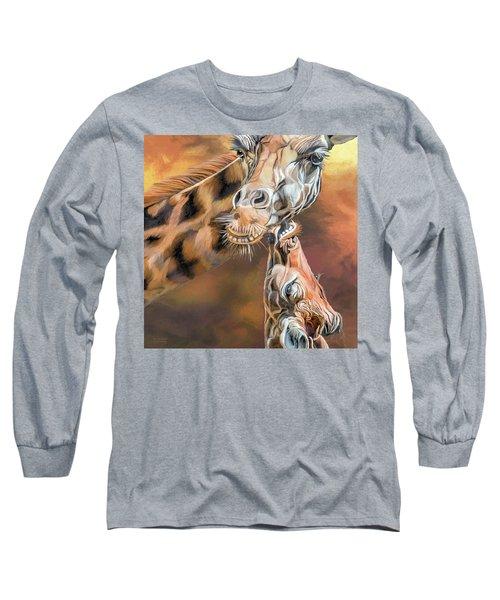Long Sleeve T-Shirt featuring the mixed media Kiss For Mama by Carol Cavalaris