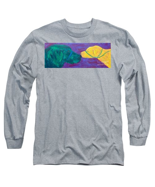 Long Sleeve T-Shirt featuring the painting Kissing Dog by Donald J Ryker III