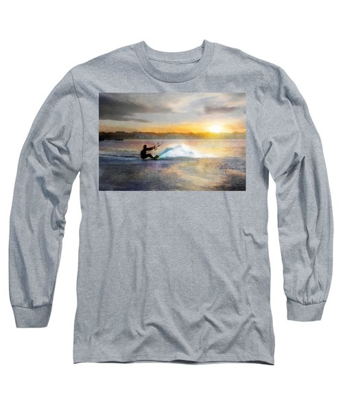 Kite Boarding At Sunset Long Sleeve T-Shirt by Francesa Miller