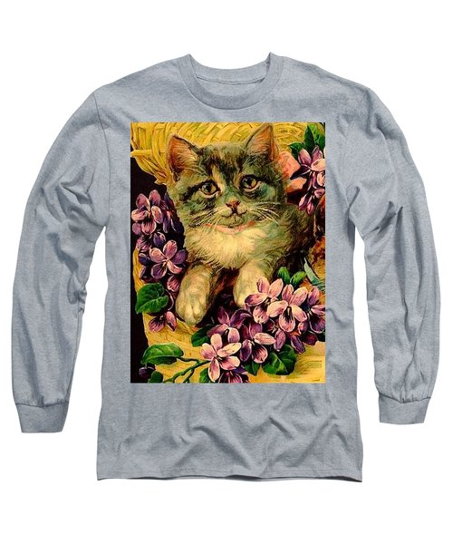 Kittens With Violets Victorian Print Long Sleeve T-Shirt