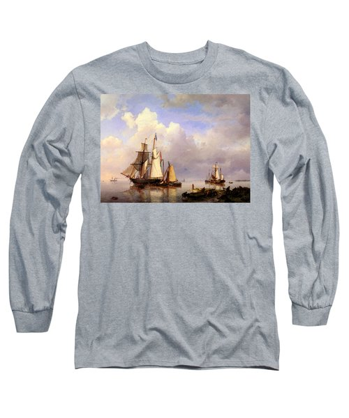 Koekkoek Hermanus Vessels At Anchor In Estuary With Fisherman Long Sleeve T-Shirt