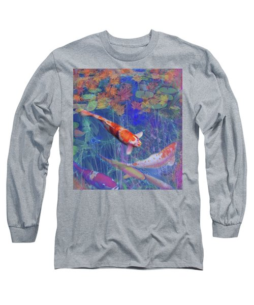 Koi Fish Pond Japanese Tea Garden  Long Sleeve T-Shirt by Julianne Ososke