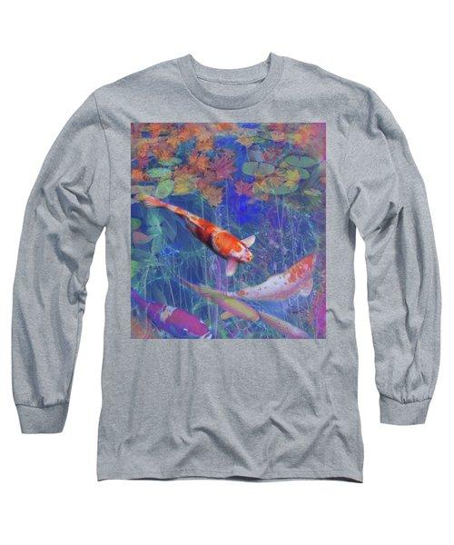 Koi Fish Pond Japanese Tea Garden  Long Sleeve T-Shirt