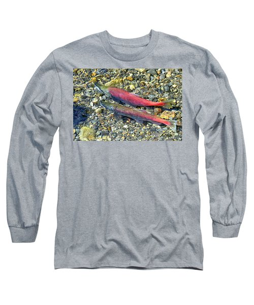 Long Sleeve T-Shirt featuring the photograph Kokanee Salmon At Taylor Creek by David Lawson