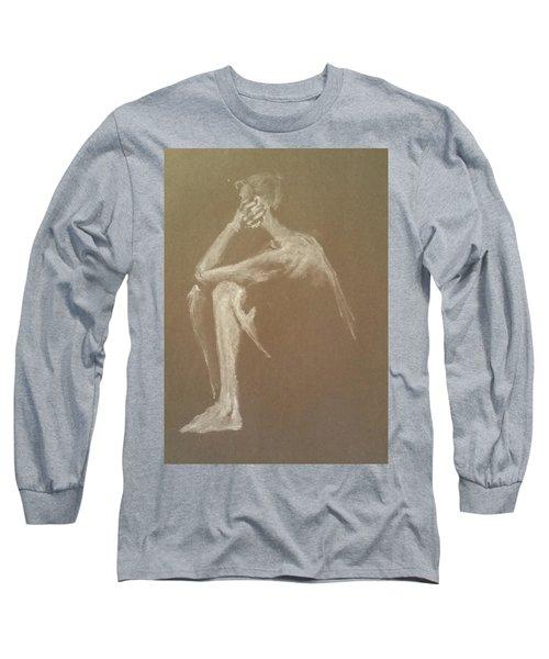 Kroki 2015 06 18_9 Figure Drawing White Chalk Long Sleeve T-Shirt