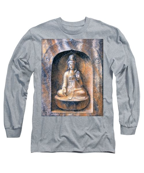 Long Sleeve T-Shirt featuring the painting Kuan Yin Meditating by Sue Halstenberg