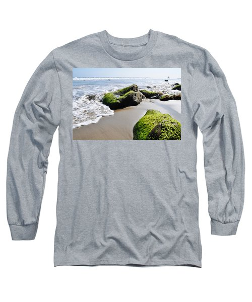 Long Sleeve T-Shirt featuring the photograph La Piedra Shore Malibu by Kyle Hanson
