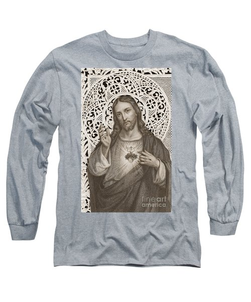 Lace Card Depicting The Sacred Heart Of Jesus Long Sleeve T-Shirt