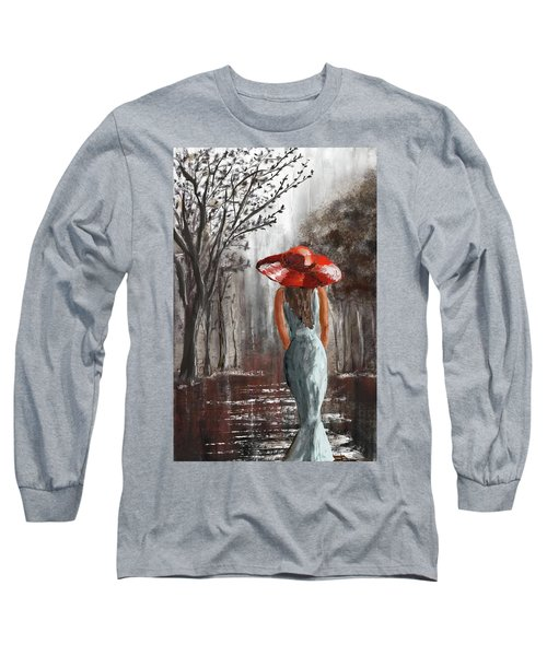 Lady In A Red Hat Long Sleeve T-Shirt