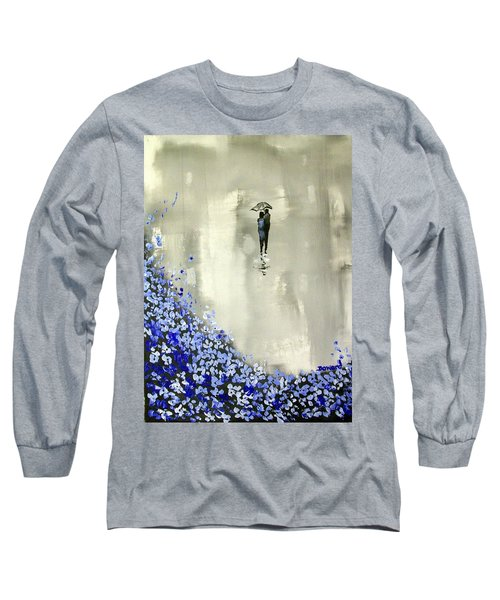 Long Sleeve T-Shirt featuring the painting Lady In Blue by Raymond Doward