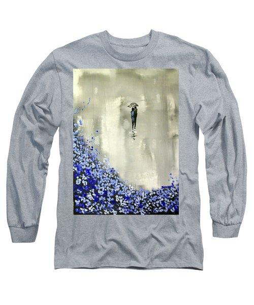 Lady In Blue Long Sleeve T-Shirt by Raymond Doward