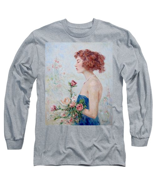 Lady With Roses  Long Sleeve T-Shirt by Pierre Van Dijk
