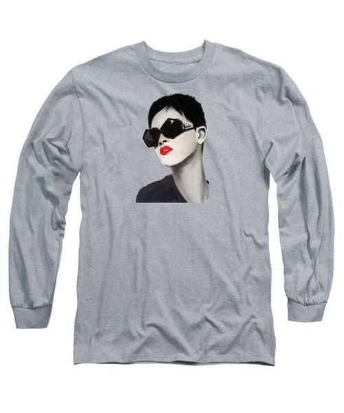 Lady With Sunglasses Long Sleeve T-Shirt by Birgit Jentsch