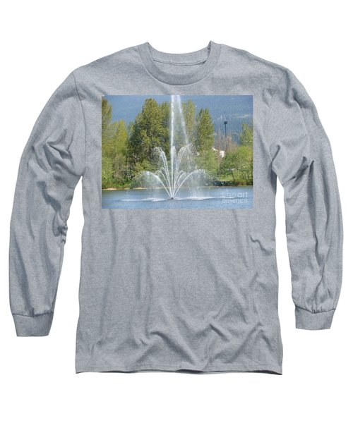 Long Sleeve T-Shirt featuring the painting Lafarge Lake Fountain by Rod Jellison